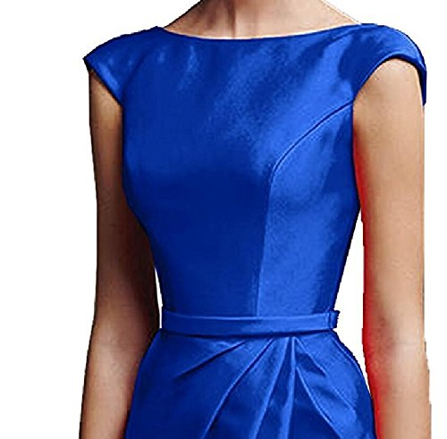 Kurzarm Charmant Festlich Royal Satin Figurbetont Ballkleider Damen Etuikleider Abendkleider Blau Royal Blau qF7wW4rFt