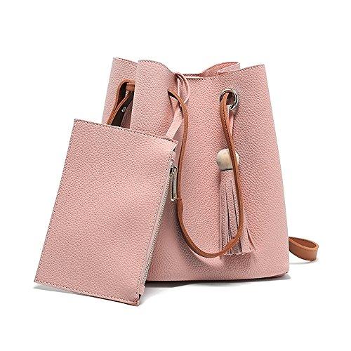 Espeedy Moda Mujer Messenger Bolsas Con Tote Bolsa De Cuero De Perlas De Compras De Compras De Viaje Crossbody Bolsa De Hombro rosa
