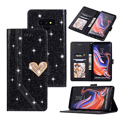 Black Friday Cyber Monday Deals-Galaxy Note 9 Glitter Wallet Case-Note 9 Bling Slim Flip Phone Case Card Holder Cash Pocket Purse [Crystal Heart Magnetic Closure] (Galaxy Note 9, Black)