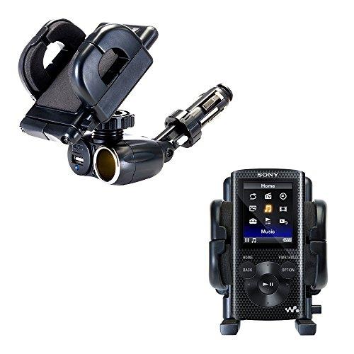 Unique Auto Cigarette Lighter and USB Charger Mounting System Includes Adjustable Holder for the Sony Walkman NWZ-E463 E465 E473 E474 E475