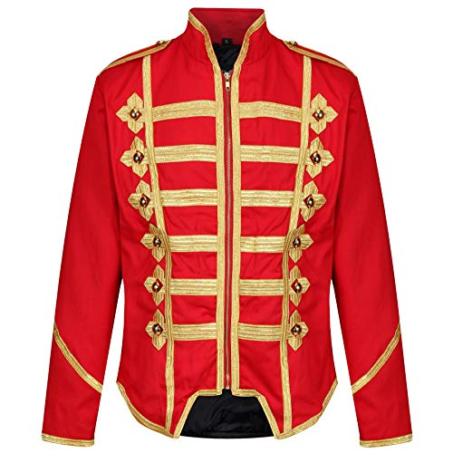 Ro Rox Steampunk Military Drummer Emo MCR Punk Gothic Parade Jacket - Red & Gold (XXL)