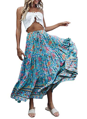 AlvaQ Women Summer Floral Print Boho Hight Waist Shirring Pleated Long Maxi Skirt Yellow Large