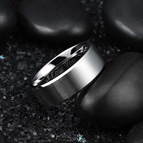 King Will Basic 8mm Stainless Steel Ring Matte Finish & Polished Beveled Edge with Laser Etched I Love You9.5 by King Will (Image #2)