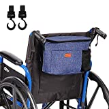 Wheelchair Bag for Back of Chair -Multifunctional Storage Tote Accessory for Rollator Walkers Senior Elderly with Two Hooks