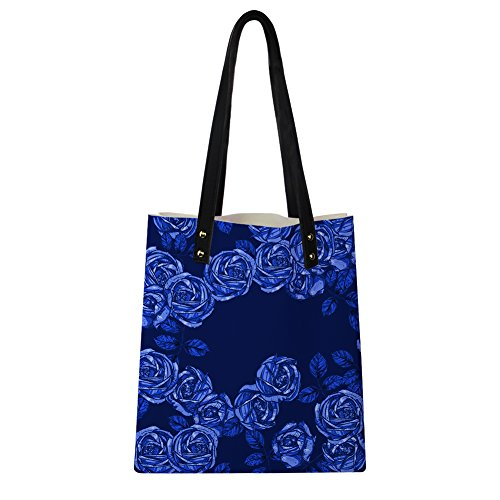 Women PU Novelty 4 Rose Leather Print for Flower Instantarts Flower Rose Shoulder Handbags wTHqSHaz