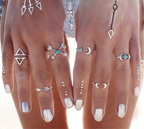 Women's Arrow Costume (Miraculous Garden Womens 6PCS Vintage Retro Silver/Gold Plated Alloy Arrow Moon Turquoise Joint Knuckle Nail Midi Statement Ring Set)