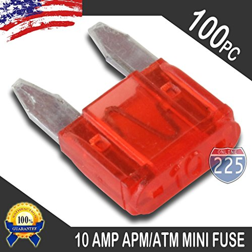 APM ATM 32V Mini Blade Style Fuses Short Circuit Protection Car Fuse (100 Pack, 10 AMP Red)