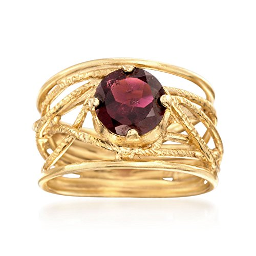 Ross-Simons 1.50 Carat Garnet Openwork Ring in 18kt Yellow Gold Over Sterling Silver 1.5 Ct Garnet Ring