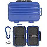 Memory Card Case Holder Waterproof for 12 Slots Micro SD Cards/8 TF SD/4 CF Cards Camera Protector Card with Carabiner (Blue).