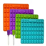 4 PACK Silicone Gummy Bear Mold With 2 Bonus Droppers, 212 gummy bears total, Suit for making hard Candy, Gummy, Chocolate and Gelatin