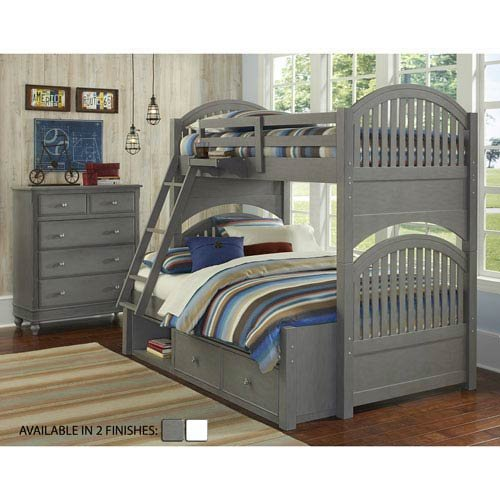 (Hillsdale Kids and Teen Lake House Adrian Stone Finish Twin Over Full Bunk Bed with Storage)