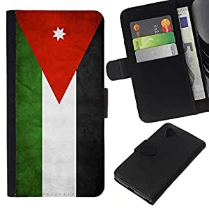 All Phone Most Case / Oferta Especial Cáscara Funda de cuero Monedero Cubierta de proteccion Caso / Wallet Case for LG Nexus 5 D820 D821 // National Flag Nation Country Jordan