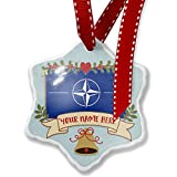 Add Your Own Custom Name, NATO (North Atlantic Treaty Organization) Flag Christmas Ornament NEONBLOND