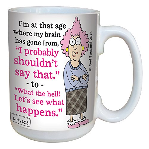 Retirement Coffee (Hilarious Aunty Acid See What Happens Large Coffee Mug, 15-Ounce Cup LM46599 - Funny Retirement Over the Hill Gag Gifts, Old Age - Tree-Free Greetings)