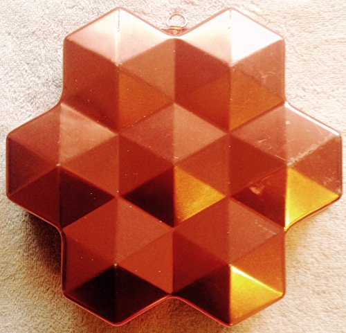 Vintage 8 Cup Coppertone Copper Tone Faceted Hexagon Jell-O Mold / Cake Baking Pan