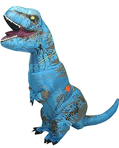 Adult Inflatable T-rex Dinosaur Halloween Suit Cosplay Fantasy Blow Up Dress Up Funny Costume (Blue)