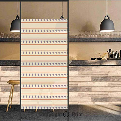 3D Decorative Privacy Window Films,Horizontal Borders Patriotic Stars Nostalgic USA Pattern Decorative,No-Glue Self Static Cling Glass Film for Home Bedroom Bathroom Kitchen Office 24x48 Inch