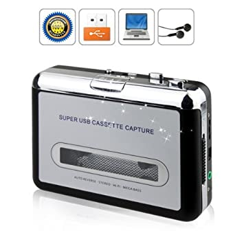 BW cinta portátil a la PC Cassette-to-MP3 CD convertidor USB Captura de audio digital reproductor de música, reproductor de cassette USB y cinta a MP3 ...