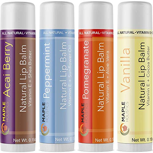 - All-natural Therapeutic Lip Balm for Dry and Chapped Lips - Four Flavor Multi-pack for Men, Women and Teens - Moisturizing Beeswax Treatment with Aloe Vera, Shea Butter and Vitamin E - USA Made By Maple Holistics