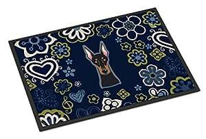 Azul flores Doberman Pinscher alfombrilla de interior o al aire libre 18x 27bb5096mat