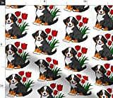 Bernese Mountain Dog Fabric - Dog Tulips Red White Sprint Summer Print on Fabric by The Yard - Sport Lycra for Swimwear Performance Leggings Apparel Fashion