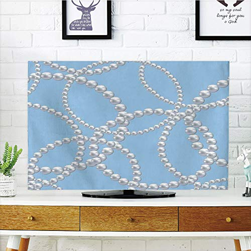 (iPrint LCD TV dust Cover Customizable,Pearls Decor,Pearl Necklace Bracelet Classic Women Bridal Groom Shower Theme Feminine Art Decorative,Baby Blue White,Graph Customization Design Compatible 42