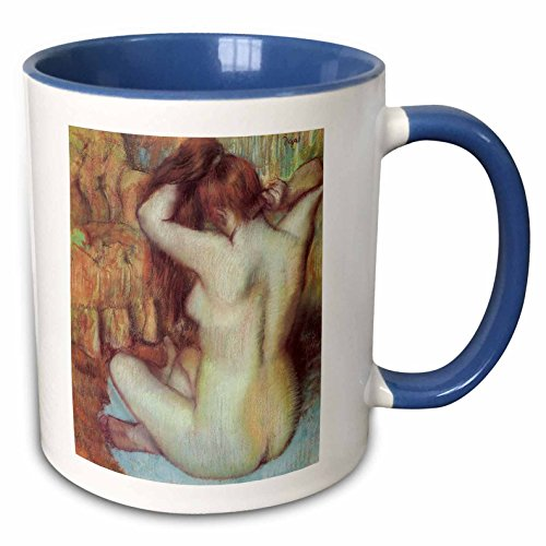 3dRose BLN Edgar Degas Fine Art Collection - Nude Woman Combing Her Hair by Edgar Degas - 11oz Two-Tone Blue Mug (mug_126996_6)
