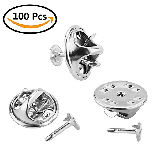 100 Pairs Butterfly Clutch, CBTONE Silver Metal Tie Tacks Pin Back Replacement with Blank Pins for Craft Making, Badge Insignia, Citation Bars, Service Bars, Toy Pins and Jewelry Making