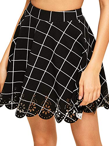 Little Black Mini - SheIn Women's Basic Solid Flared Mini Skater Skirt XX-Large Black Plaid