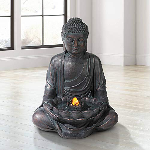 John Timberland Zen Buddha Outdoor Water Fountain LED Light Meditating for Yard Garden (Budha Fountain)