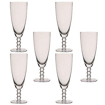 Juego de 6 copas de champán con cuentas de cristal de Bella Perle, 300 ml: Amazon.es: Hogar