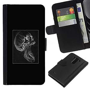 // PHONE CASE GIFT // Moda Estuche Funda de Cuero Billetera Tarjeta de crédito dinero bolsa Cubierta de proteccion Caso LG G3 / Skull Scream Goth /