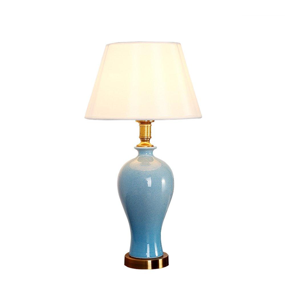 Home - Table lamp CSQ Schlafzimmer-Nachttisch-Lampe, Studienbüro Lernen Wohnzimmer-Eingang neben der Fernsehtischlampe Blaue Keramik-Tischlampe E27 Netz-Schalter-Knopf 25  46CM Licht (Farbe   A)
