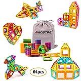 AMOSTING Magnetic Blocks Kids, 64 Pcs Magnetic Building Tiles Magnetic Block, Brain Games Kids Childrens Educational Toys Storage Bag