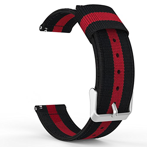 Price comparison product image Gear S3 Watch Band, MoKo Fine Woven Nylon Adjustable Replacement Band Sport Strap for Samsung Gear S3 Frontier / S3 Classic / Moto 360 2nd Gen 46mm / Garmin Vivomove/ AMAZFIT Smart Watch, Black & Red