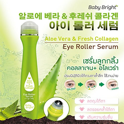 Baby Bright Eye Roller Serum with Aloe Vera & Fresh Collagen, Wrinkles, Dark Circles, Puffiness & Bags