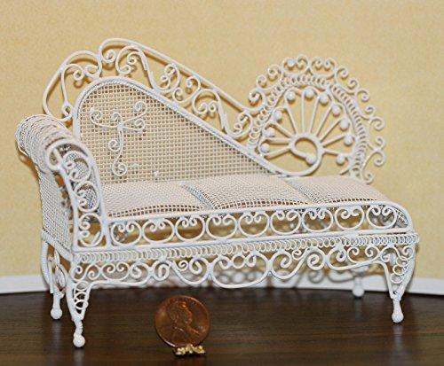 Wire White Victorian Miniature Dollhouse - Dollhouse Miniature Ornate Victorian Sofa in White Wire