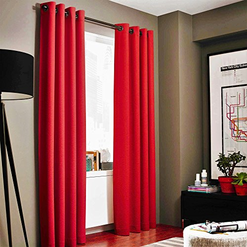 Gorgeous Home LinenVarious of Colors & Sizes 1 PC #86, Solid Insulated Foam Backing Lined Blackout Hotel Quality Grommet Top, Jacquard Heavy Thick Texture, Window Curtain Panel (95