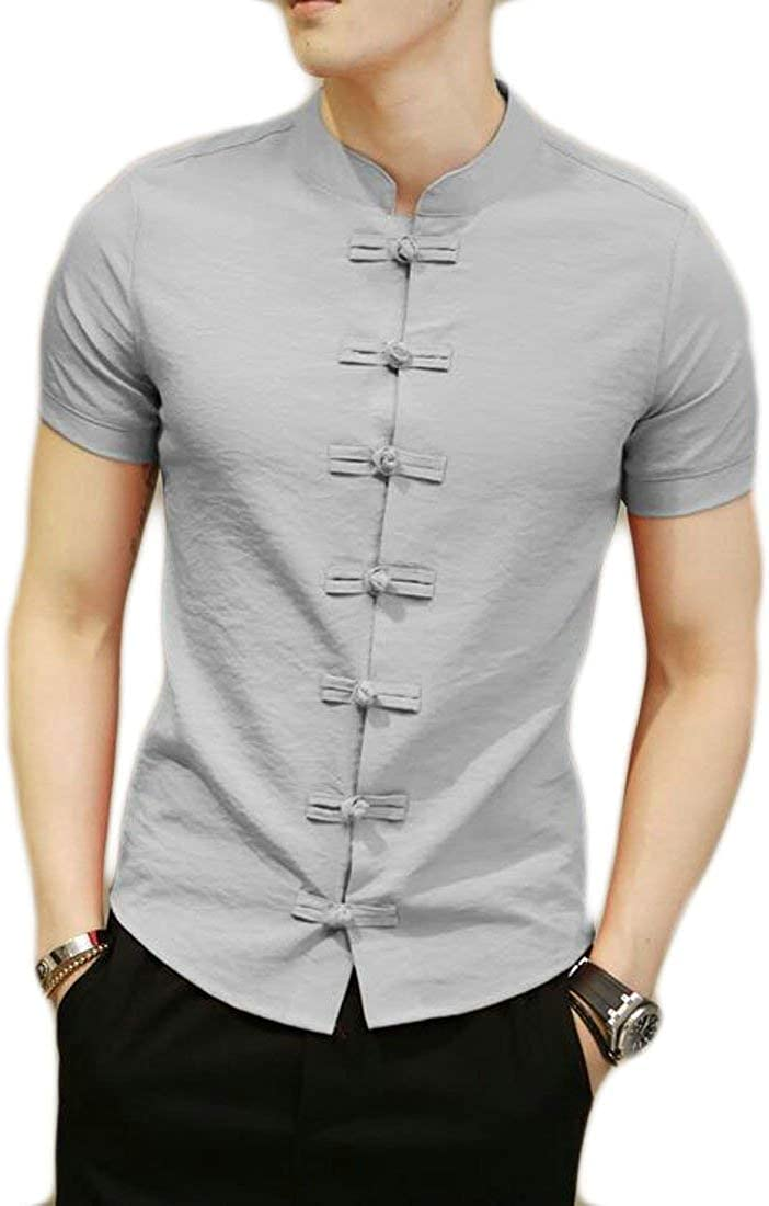 Zimaes-Men Vintage Elastic Casual Long-Sleeve Slim Fit Dress Shirts
