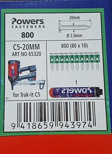 W/ürth Diga CS/ Powers ongles C5 /2 maxgs73/+ Cartouche de gaz Powers C5 Dewalt C5 20/mm Gaz Cloueuse