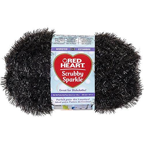 (Red Heart Scrubby Sparkle E851.8012 Yarn, Licorice)