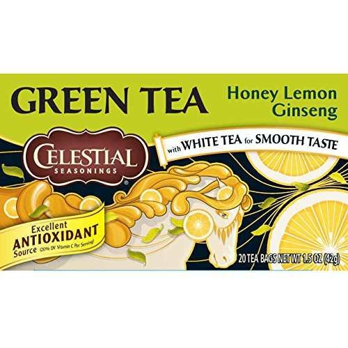 Celestial Seasonings Green Tea, Honey Lemon Ginseng, 20 Count (Pack of 6)
