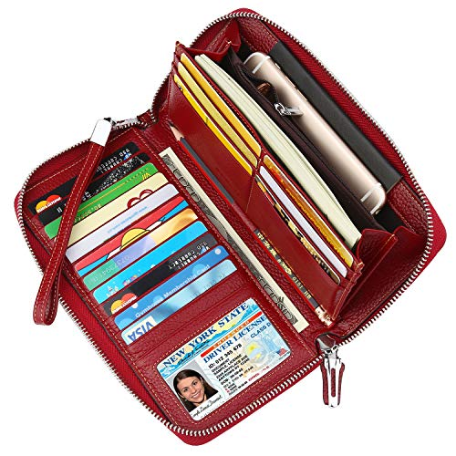 Lavemi Women's RFID Blocking Real Leather Zip Around Wallet Clutch Large Travel Purse Wristlet(Large Size Deep Red)