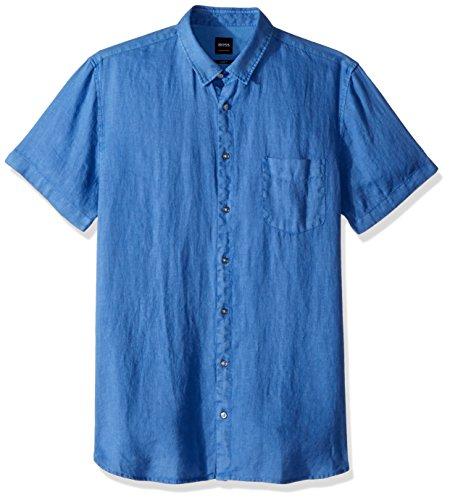 BOSS Orange Men's Short Sleeve Garment Dyed Linen Shirt, Blue, Medium
