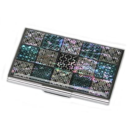 Amazon antique alive mother of pearl korean traditional antique alive mother of pearl korean traditional lattice design lady business credit card holder metal wallet colourmoves