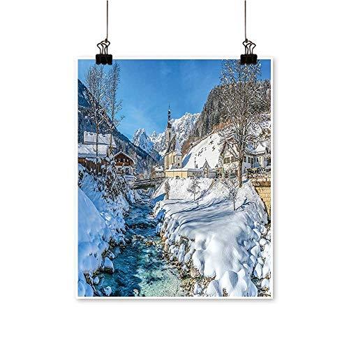 "Artwork for Office Decorations W TER Bavarian Alps High Ice Salzburg Austrian Retro Blue White Canvas Living Room,32""W x 60""L/1pc(Frameless)"