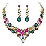 Youfir Bridal Austrian Crystal Necklace and Earrin