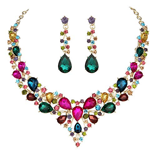 Molie Youfir Bridal Austrian Crystal Necklace and Earrings Jewelry Set Gifts fit with Wedding Dress(Multicolour)