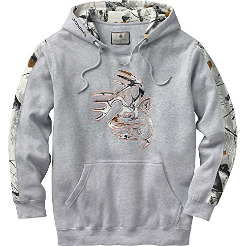 Legendary Whitetails Mens Snow Camo Outfitter Hoodie Athletic Heather X-Large Tall