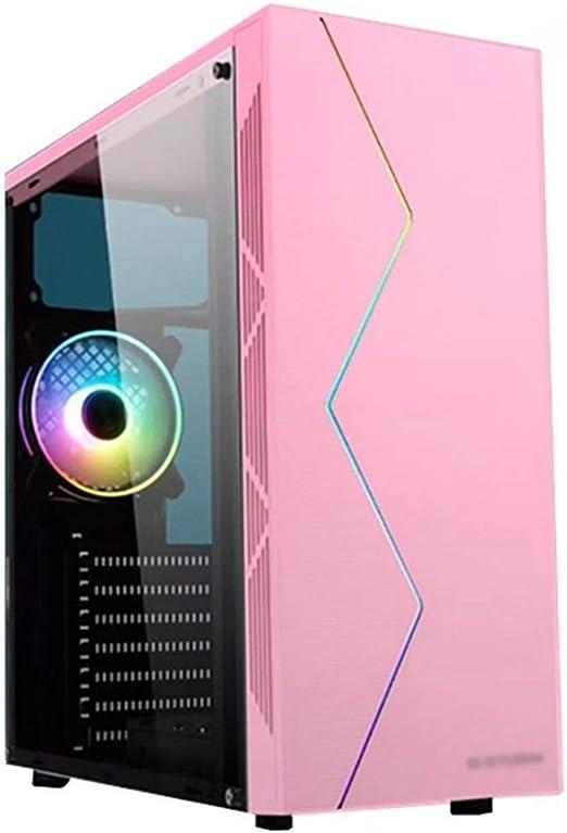 WSNBB Rosa ATX Semitorre Caja De La PC del Juego, Filtro De Polvo Magnético, El Panel Lateral Completa De Acrílico Transparente, Y Panel Frontal RGB Y Pre-Instalado 120mm Ventilador: Amazon.es: Hogar